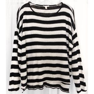 Eileen Fisher Sweaters - EILEEN FISHER LINEN BLACK WHITE STRIPED SWEATER M